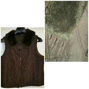 New Directions Brown  Vest Fux Fur Collar 3X